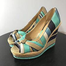 REPORT Striped Espadrille Dorie Wedges Bows Summer Sandals SZ 6.5