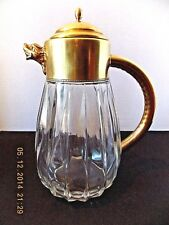 """VINTAGE ITALIAN BRASS CLASSIC FLUTED GLASS 9-1/4"""" TALL CARAFE W/ LION HEAD SPOUT"""