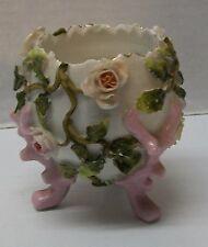 Egg Shape Trinket Dish Bowl Small Vase Applied Roses Vine Sitzendorf Antique
