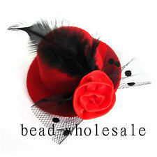 1X Red Mini Top Feather Hat Fascinator Hair Clip Party Costume Hair Accessories