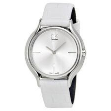 Calvin Klein Skirt Silver Dial White Leather Ladies Watch K2U231K6