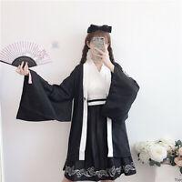 Japanese Sweet Lolita Kimono Haori Embroidery Black Coat Long Sleeve Dresses