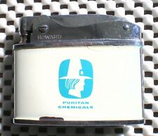 Vintage Puritan Chemicals Lighter Howard Japan White Aqua Pilgrim Logo
