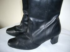 DOROTHY PERKINS BLACK FAUX LEATHER ANKLE BOOTS SIZE UK 6