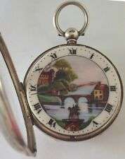 RARE SILVER AUTOMATION WATCH WITH PICTURE DIAL FUSEE OF WINDMILL C1856 WORKING