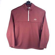 Callaway Golf Mens Xl Ottoman 1/4 Zip Mock Ribbed Top Pullover Maroon