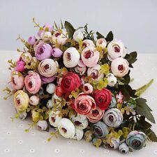 10heads /1 bundle Silk tea roses Bride bouquet for Christmas home wedding decor
