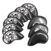 9pcs Skull Iron Club Head Covers Golf Iron Cover Headcover Black Fit Most Brand