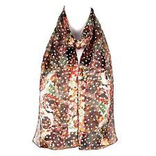 Chiffon Satin Ladies  Flower Design Scarf Shawl Wrap
