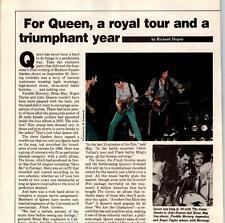 1980 Vintage 1Pg Short Print Article On Band Queen A Royal Tour Freddie Mercury