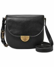 Fossil NWT $158 Emi Black Pebble Leather Saddle Bag Crossbody Messenger Brass