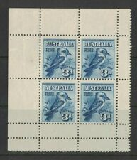 1928 Australia 3d Kookaburra, tropical gum SG 106a Block 4 MUH stamps