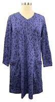 Denim&co. Womens Dress XL Deep Indigo French Terry Long Sleeve Fit & Flare