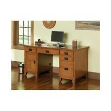 Wood Computer Home Office Workstation Desk Arts and Craft Style With Oak Finish