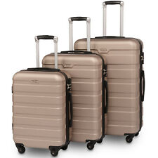 Luggage 3 Piece Set Hardside Lightweight Spinner Suitcase Wheels Champagne