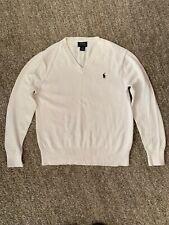 Polo Ralph Lauren V-neck White Cotton Sweater Boys Med (10-12)