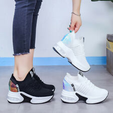 Women Breathable Sneakers Lace Up Athletic Casual Sport Wedge Heel Creeper Shoes