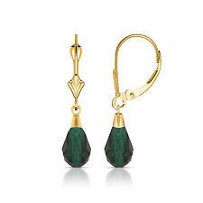 Esmeralda Verde 14K Oro Amarillo Macizo Lágrima Forma Colgante Pendientes Largos