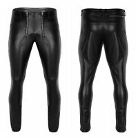 Mens Punk Motorcycle Tight Pants Faux Leather Trousers Skinny Slim Fit Clubwear