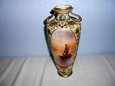 """Vintage Nippon Scenic 13"""" Vase Ocean Sailing Fishing Boats Moriage Hand Painted"""