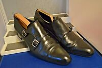 RUSSELL & BROMLEY CLASSIC POINTED BLACK TWIN MONK STRAP SHOES UK 8.5 EU 42.5