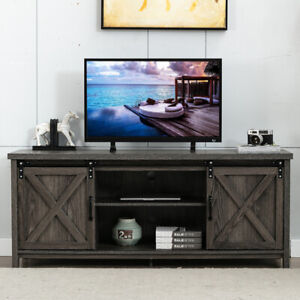 """Wooden TV Stand with Sliding Barn Door for 65"""" TVs Farmhouse Media Console Table"""