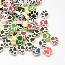25 Stück Fimo 12mm Perlen Polymer Clay Beads Pfote Tatze Bunt (1269)