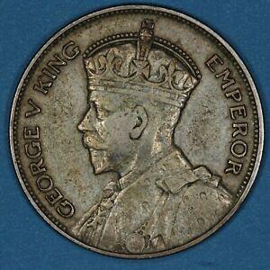 1934 New Zealand 1/2 Half Crown coin, VF, KM# 5