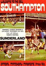 Southampton v Sunderland programme, Division 2, December 1975