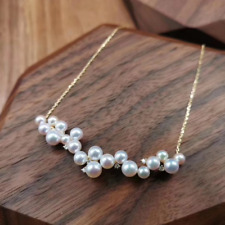 Natural Diamond Freshwater Pearl Cluster Pendant Necklace Chain 14K Yellow Gold