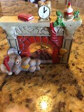 Adorable Ceramic Chrismas Fireplace With Sleeping Mouse Figurine