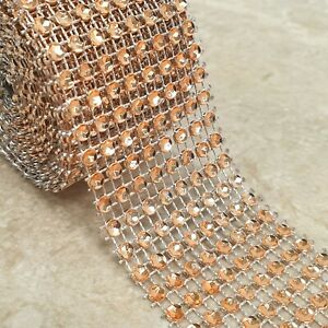 Diamante Diamond Ribbon Mesh Cake Trim Wrap Bling Wedding Craft Crystal 8 Row 1M