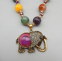 Fuchsia Elephant Crystal Rhinestone Pendant Ball Beads Chain Sweater Necklace