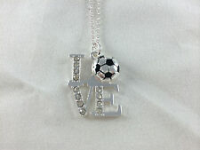 Love Soccer Silver Tone with Rhinestone Accents Pendant Necklace Team