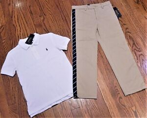 POLO RALPH LAUREN AUTHENTIC BOYS BRAND NEW ORIGINAL T-SHIRT + PANTS Size 5, NWT
