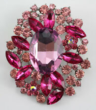 Pink Wonderful Austrian Rhinestone Crystal Bridal Wedding Brooch Pin