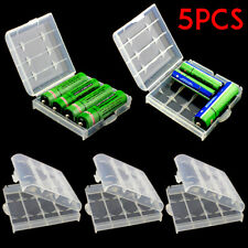 5PCS AA AAA Battery Storage Case Clear Container Holder Box Cover Hard Plastic