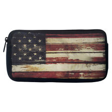 Weathered USA Flag Neoprene Pencil Case Cosmetic Bag Purse Organizer Pouch