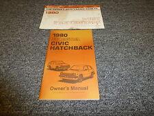 1980 Honda Civic Hatchback Owner Owner's User Guide Manual 1300 1500