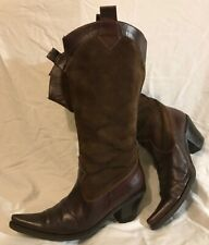 Ladies Dark Brown Mid Calf Leather Lovely Boots Size 38 (459Q)
