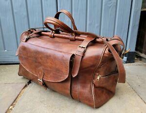 Large Vintage Brown Leather Doctors Medical Travel Bag Holdall Adjustable Strap