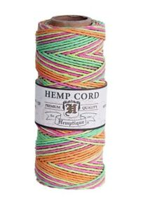 1mm NEON BLEND HEMP CORD 205 ft Spool ~ pink/lime/yellow/orange Craft Twine 20#