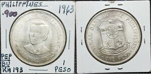 COIN Philippines 1 peso 1963 Commemorative KM# 193 Silver coin (.900)