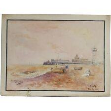 GREAT Yarmouth attraverso Pier ACQUERELLO ORIGINALE FIRMATO Flora Pittura Albert Cooper