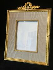 Fine Gilt Dore Bronze French Antique Photo Picture Frame with Moire Matting