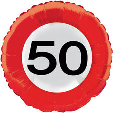 50TH BIRTHDAY PARTY 45CM FOIL BALLOON AGE TRAFFIC SIGN