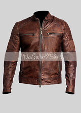 NEW Men's Leather Jacket Slim Fit Biker Vintage Motorcycle Cafe Racer