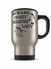 14oz Crazy Penguin Lady Novelty Novelty Gift Aluminium Travel Mug