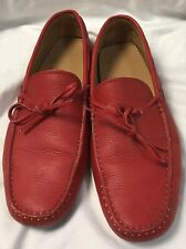 TODS mens driving shoes Loafers Moccasins RED Leather Size 9