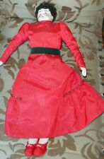 Antique china head Hertwig, Germany Lowbrow doll Corset & Red Dress w Cape 19.5""